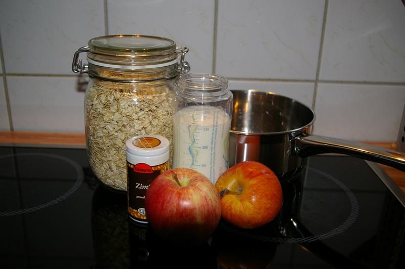 Die Zutaten für mein Apfel Zimt Porridge