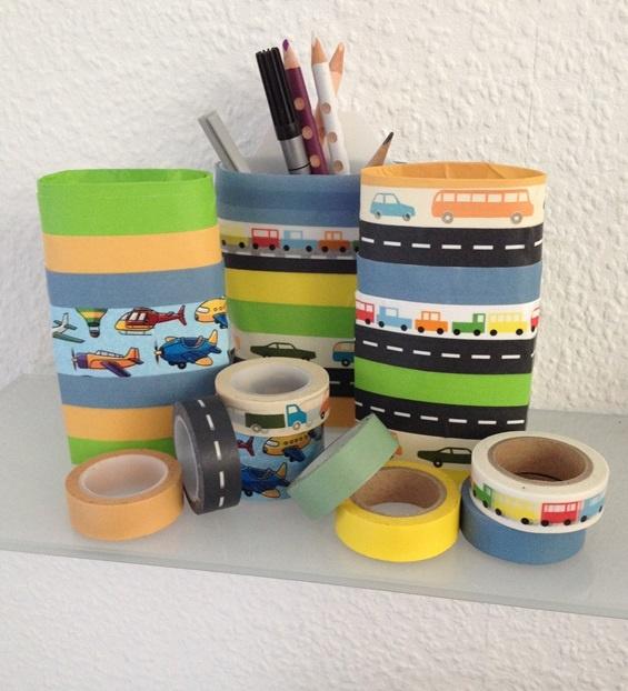 selbstgemachte Stifthalter aus Plastikverpackungen und Washitape - craftet Penholder with washitape