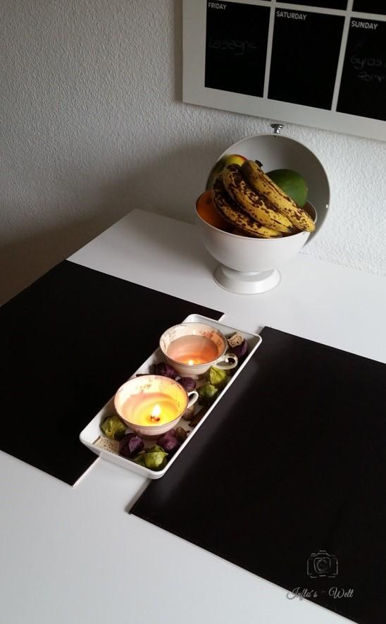 Teetassen Kerzen sorgen in der Küche für gemütliche Herbststunden