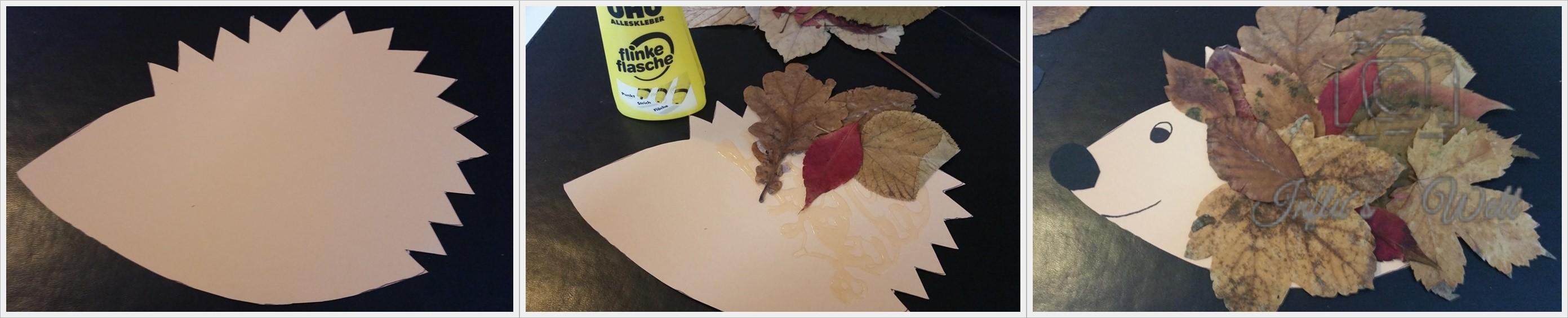 So werden Igel aus Tonpapier und getrocknetem Laub gebastelt