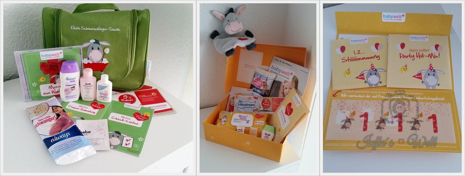 Beispiele für das Rossmann Schwangerschaftspaket, das Babybegrüßungspaket und einer Überraschung zum ersten Geburtstag