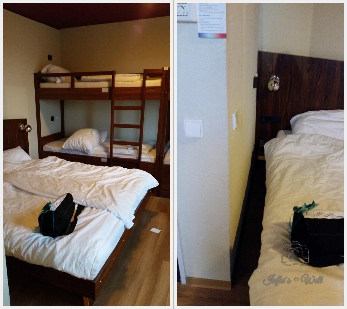 Einblick in ein Sechsbettzimmer des Meininger Frankfurt Airport Hotels