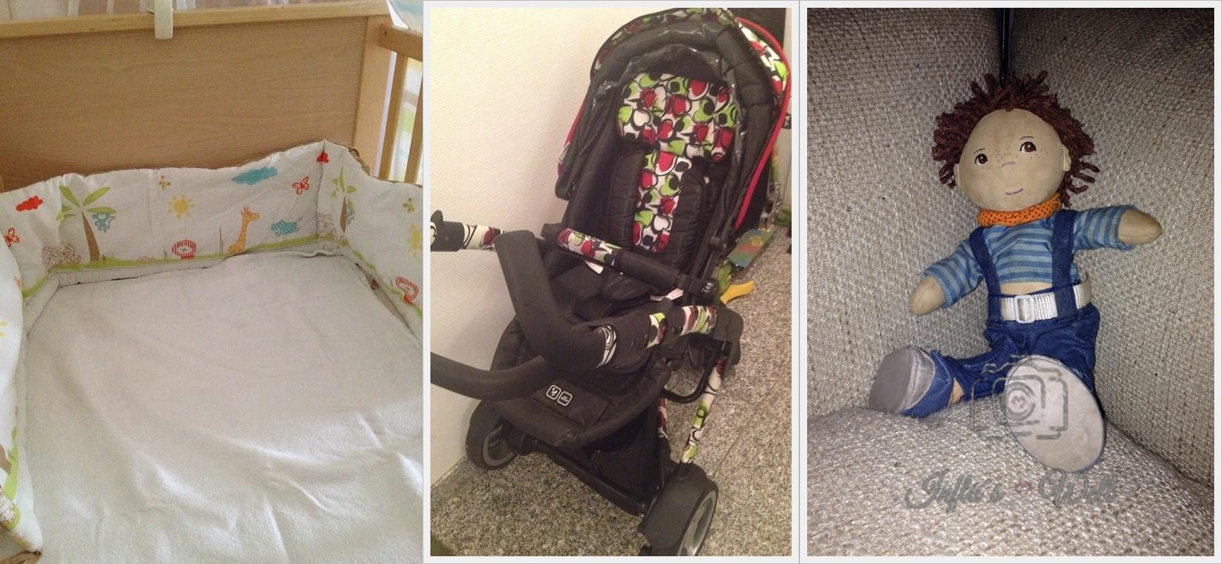 Babybett mit Nestchen, ABC 3 Tec Kinderwagen und Püppi von HABA