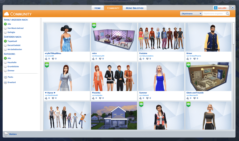 Sims4 Downloads Galerie Community Seite