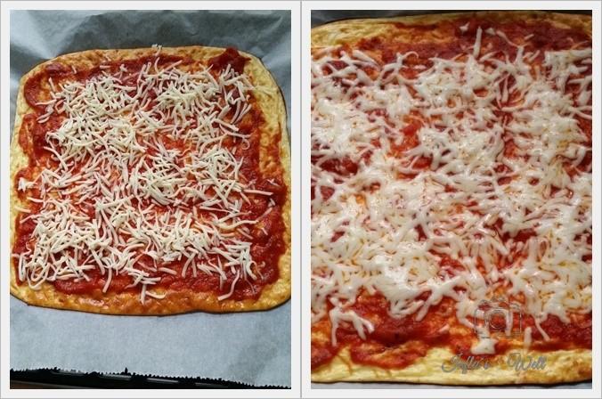 Pizzaboden Sauce und Käse vor und nach dem backen
