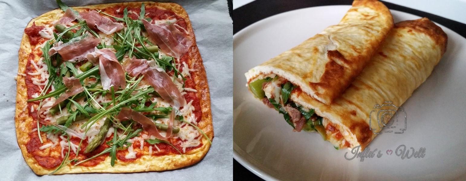 Pizzarolle fertig belegen und zusammenrollen