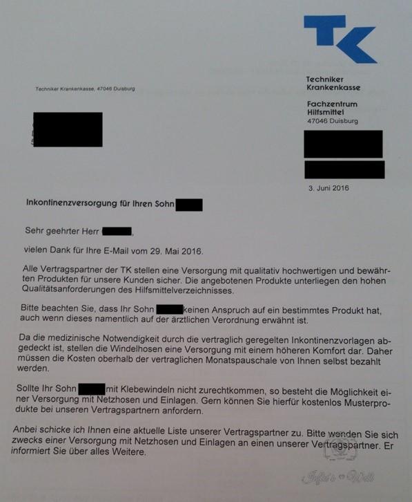 antwortschreiben der techniker krankenkasse zu beantragten windepants - Widerspruch Pflegestufe Muster