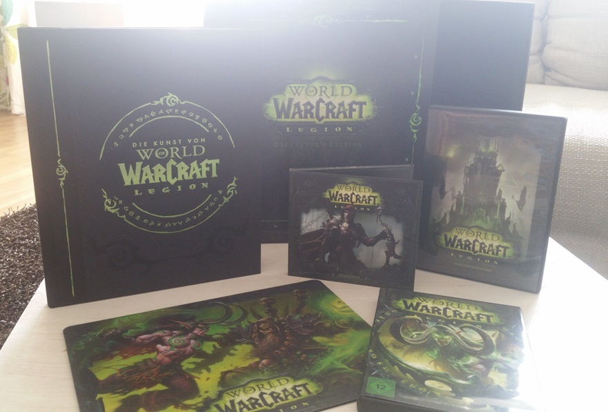 ausgepackte World of Warcraft Legion Collectors Edition