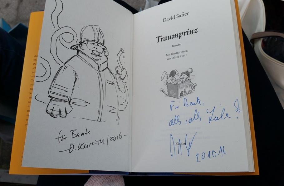 eine von David Safier und Oliver Kurth signierte Ausgabe von Traumprinz auf der Frankfurter Buchmesse