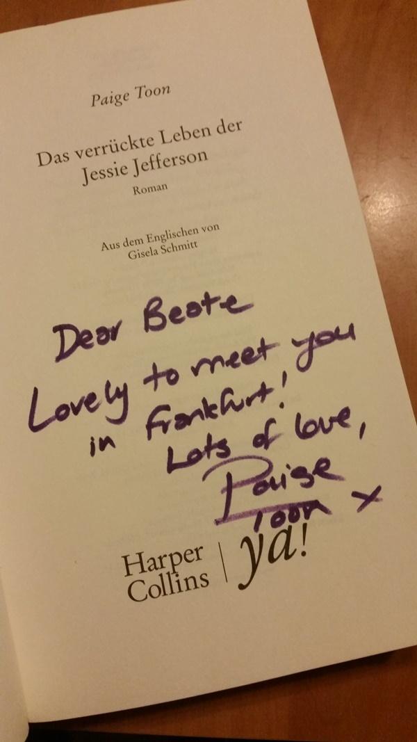 Jessie Jefferson I signiert von Paige Toon auf der Frankfurter Buchmesse 2016