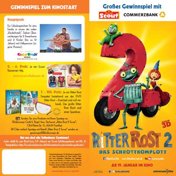 Flyer zur Ritter Rost 2 Verlosung von Scout und der Commerzbank 1/2