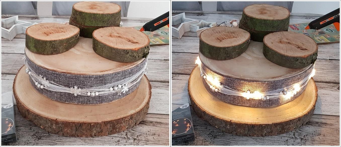 nackte Baumscheibe mit Dekoband und Microlichterkette umwickeln fuer modernes Adventsgesteck