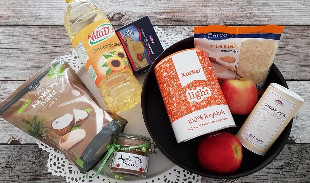 Zutaten fuer einen  zuckerfreien Low Carb Ofenpfannkuchen
