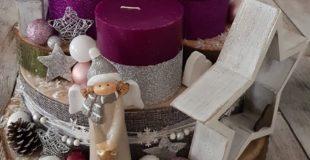 unser Adventsgesteck aus Baumscheiben