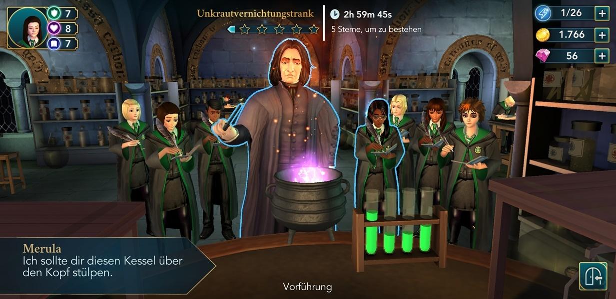 Zaubertrank Unterricht in Harry Potter Hogwarts Mystery