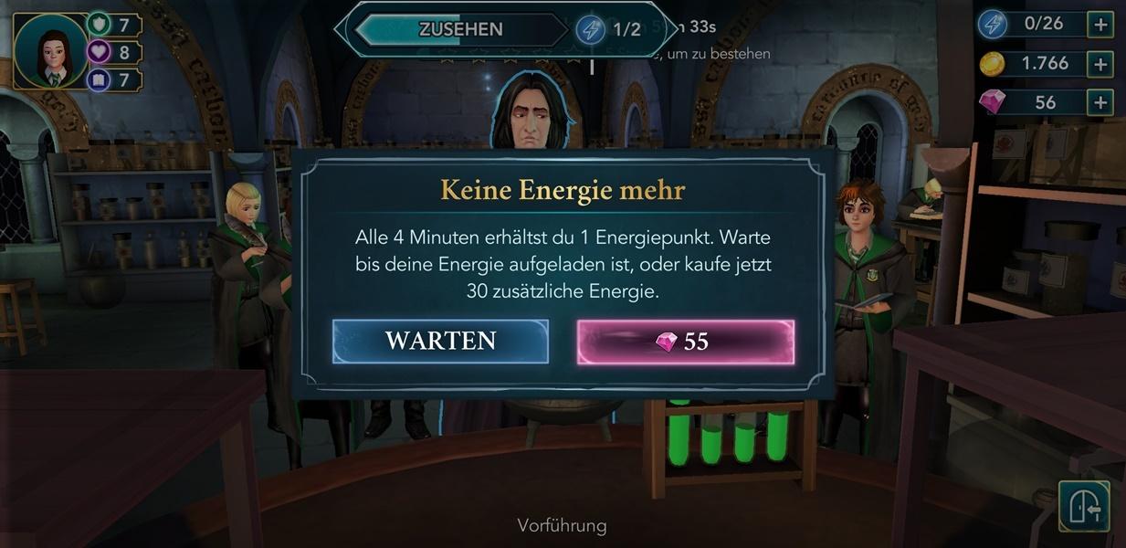 Energie leer in Harry Potter Hogwarts Mystery
