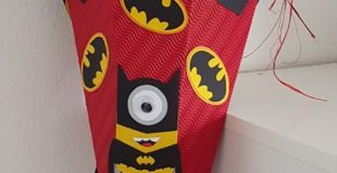 Batman-Minion Schultüte für Finn inkl. Bastelanleitung