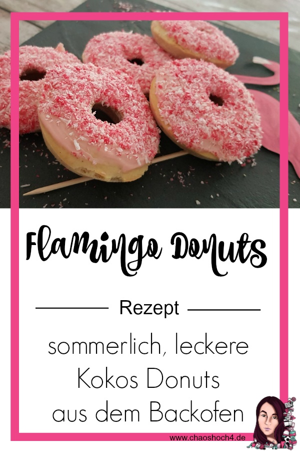 Kokos Donuts Rezept fuer Flamingo Donuts aus dem Backofen