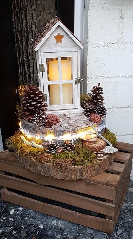 DIY winterlich herbstliche Laternen Dekoration für den Hauseinangang