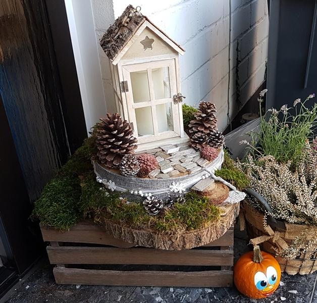 DIY Herbst Winter Deko Laterne fuer den Hauseingang