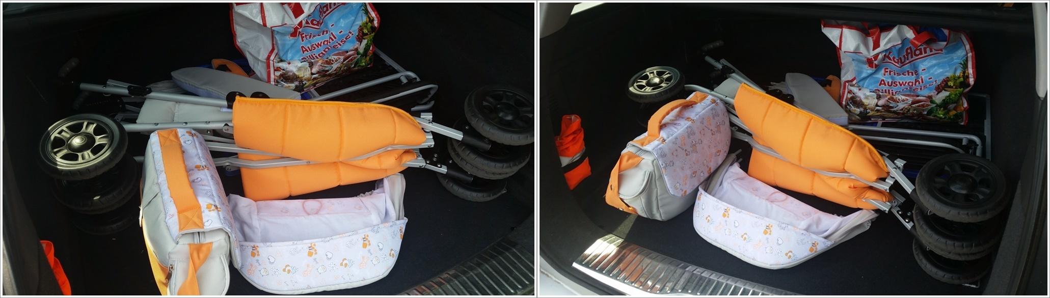 Rehabuggy Pegaz von Thomashilfen zusammengeklappt im Kofferraum - ein Kombi ist Pflicht