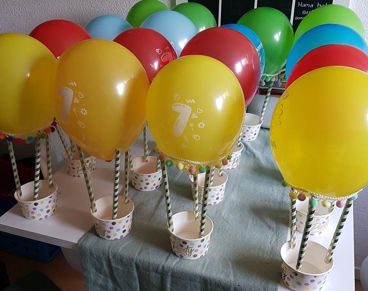 selbstgebastelte Heißluftballons fuer den Kindergeburtstag