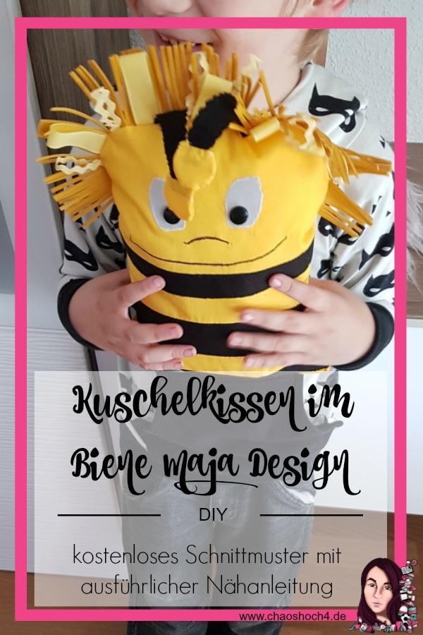 Kuschelkissen im Biene Maja Design zum Nachmachen mit kostenlosem Schnittmuster und Anleitung